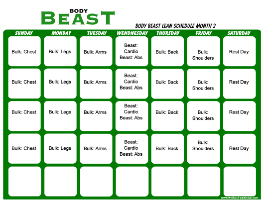 """""""Body Beast Lean Schedule Template - Month 2"""" Download Pdf"""