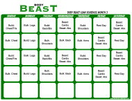 Body Beast Lean Schedule Template - Month 3