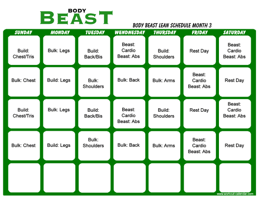 """""""Body Beast Lean Schedule Template - Month 3"""" Download Pdf"""