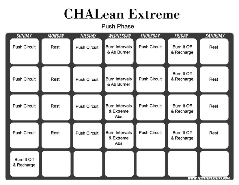 """Chalean Extreme Push Phase Workout Calendar Template"" Download Pdf"