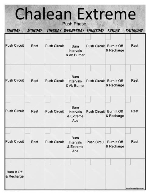"""""""Chalean Extreme Push Phase Workout Calendar Template - Portrait Orientation"""" Download Pdf"""