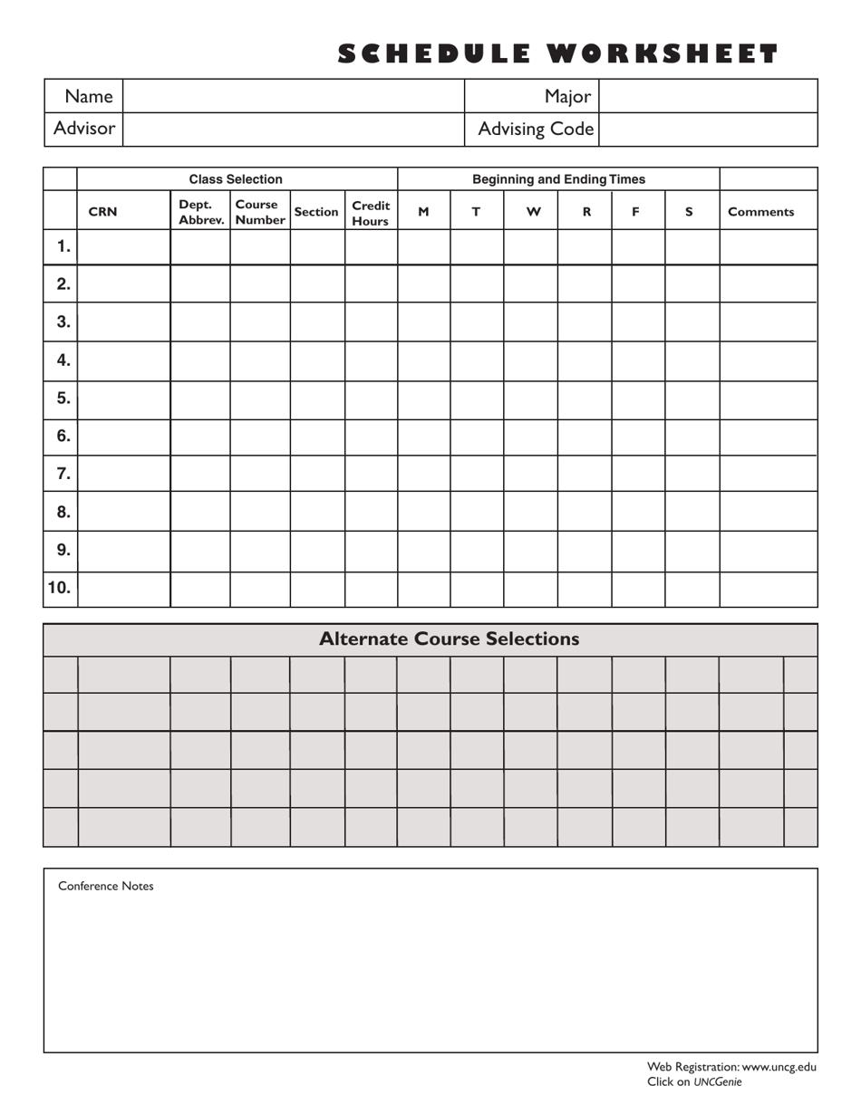 College Class Schedule Worksheet Template Unc Greensboro Download Printable Pdf Templateroller