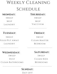 Weekly House Cleaning Schedule Template