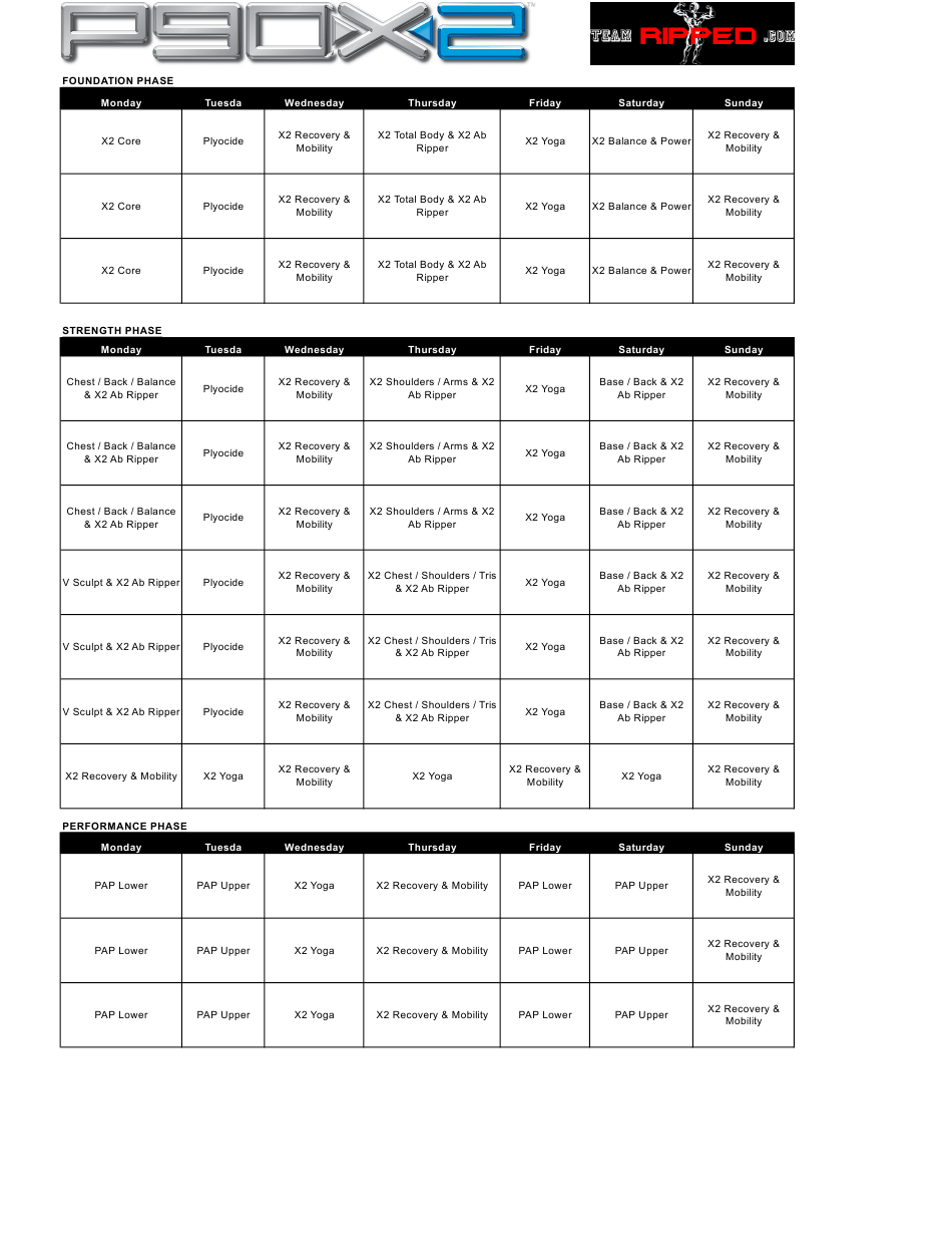 P90x2 Workout Schedule Template Ripped Download Printable Pdf Templateroller