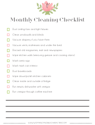 Monthly Cleaning Checklist Template