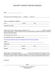 """""""Security Deposit Refund Request Form"""""""