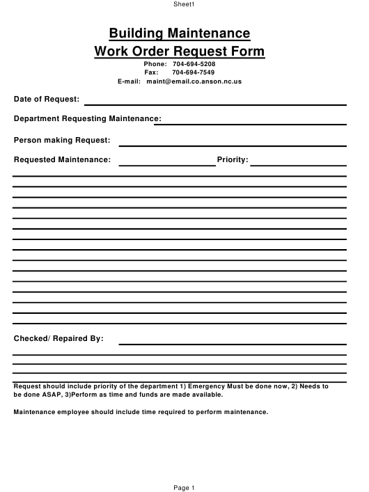 """Building Maintenance Work Order Request Form"" - Anson County, North Carolina Download Pdf"