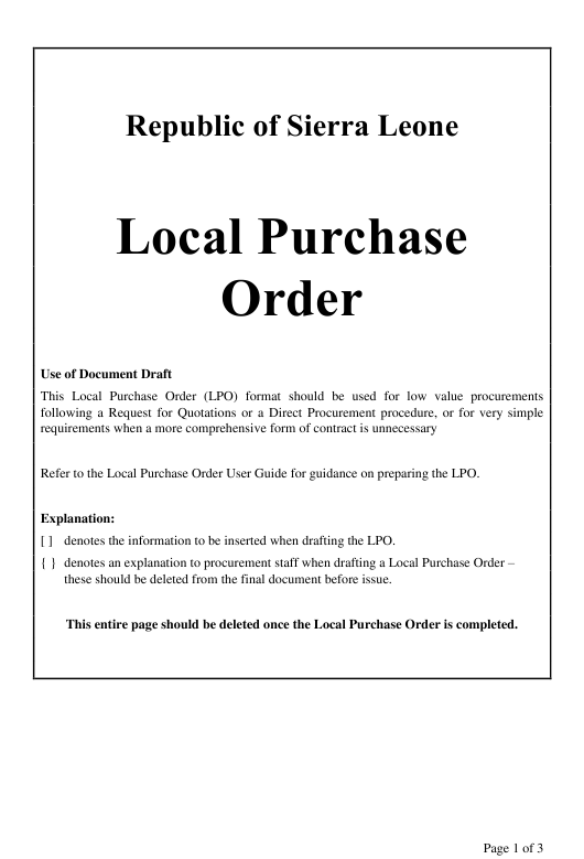 """""""Local Purchase Order Form"""" - Sierra Leone Download Pdf"""