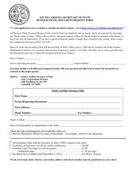 """""""Business Filing Document Request Form"""" - South Carolina"""