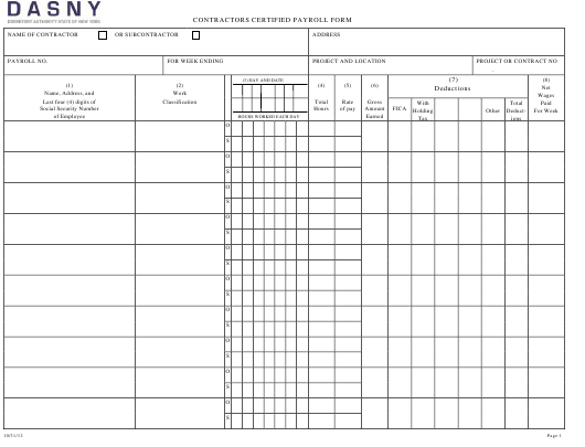 Contractors Certified Payroll Form - Dasny Download Pdf