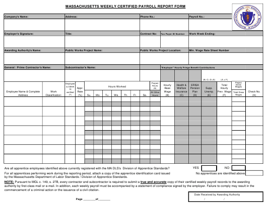"""Weekly Certified Payroll Report Form"" - Massachusetts Download Pdf"