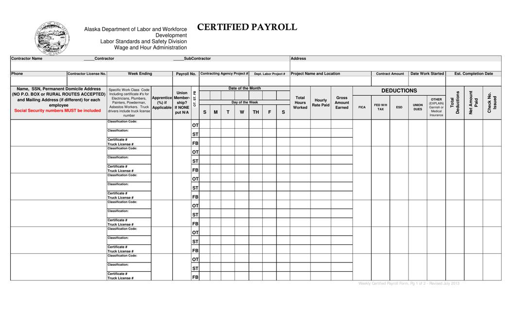 Certified Payroll Form - Alaska Download Pdf