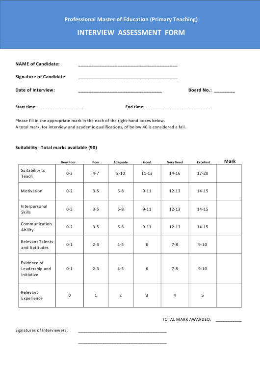 """Interview Assessment Form - Professional Master of Education (Primary Teaching)"" Download Pdf"