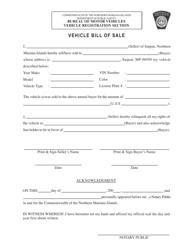 Vehicle Bill of Sale Template - Northern Mariana Islands