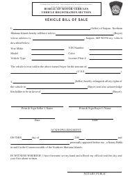 Vehicle Bill of Sale Template - Northern Mariana Islands