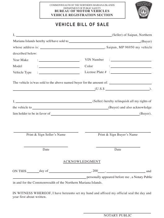 """Vehicle Bill of Sale Template"" - Northern Mariana Islands Download Pdf"