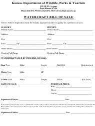 """Watercraft Bill of Sale"" - Kansas"