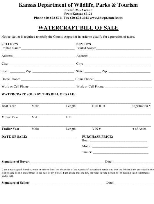 """Watercraft Bill of Sale"" - Kansas Download Pdf"