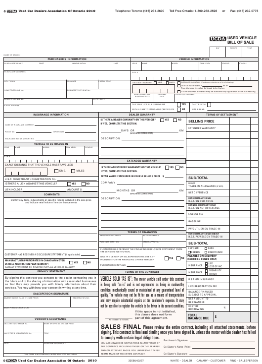 Used Vehicle Bill of Sale Template - Ucda - Ontario Canada Download Pdf