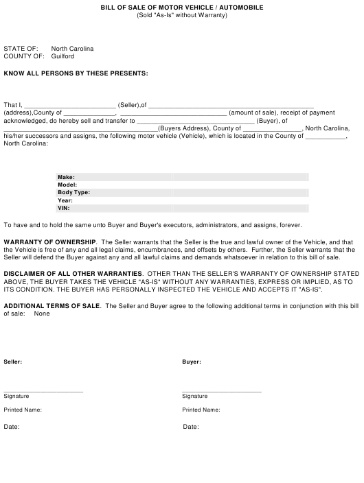 """""""Bill of Sale of Motor Vehicle/Automobile"""" - Guilford County, North Carolina Download Pdf"""