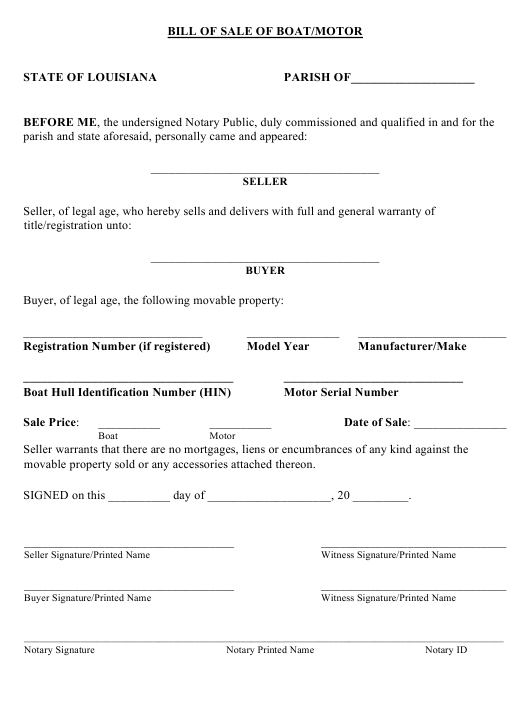 Bill of Sale of Boat/Motor - Louisiana Download Pdf