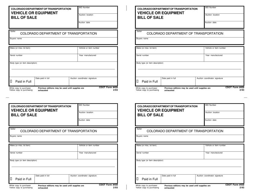 CDOT Form 459  Printable Pdf
