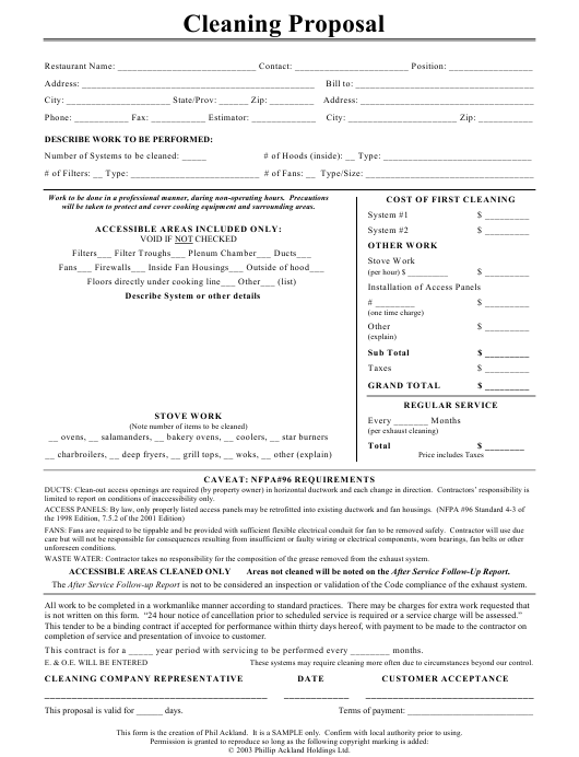 Restaurant Cleaning Proposal Form Download Pdf