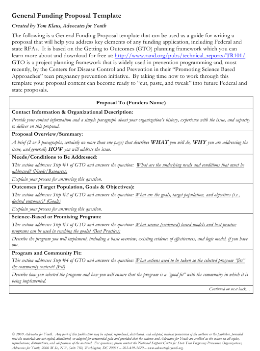 """Sample """"General Funding Proposal Template - Advocates for Youth"""" Download Pdf"""