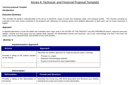 technical and financial proposal template download printable pdf