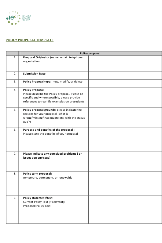 """Policy Proposal Template"" - Ireland Download Pdf"