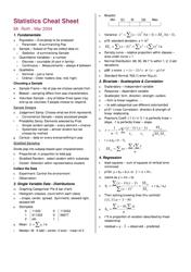 """Statistics Cheat Sheet - Principles of Statistics, University of Nevada"""