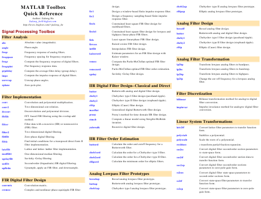 matlab toolbox quick reference sheet download printable pdf page 8