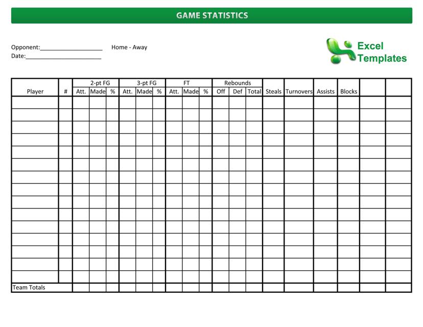 """Game Statistics: Basketball Score Sheet Template"" Download Pdf"