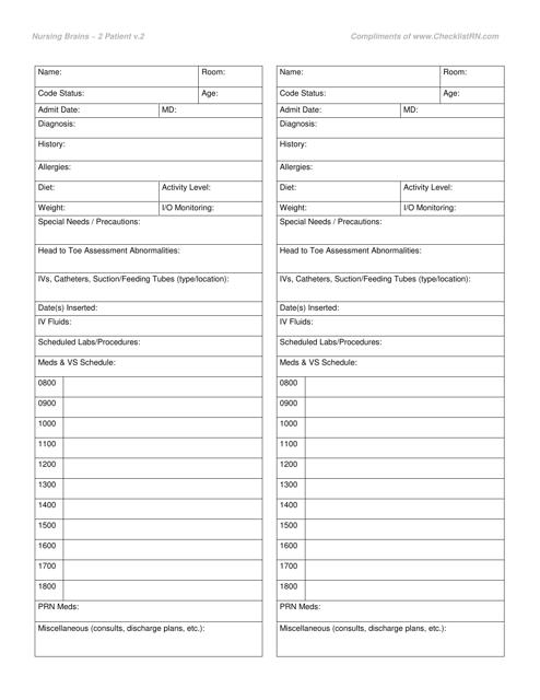 """2 Patient Hospital Nursing Report Form - Nursing Brains"" Download Pdf"
