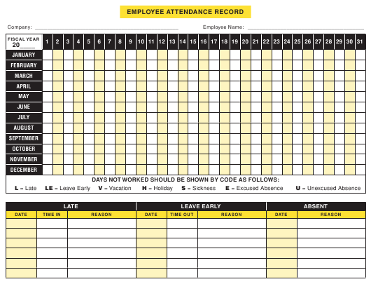 employee attendance record template download printable pdf