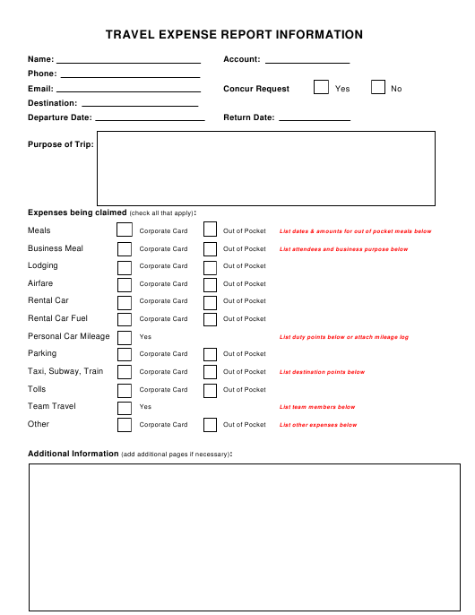 travel expense report information template download fillable pdf