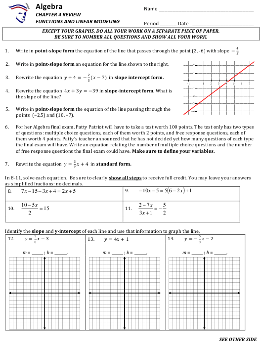 """Functions and Linear Modeling Worksheet With Answer Key"" Download Pdf"