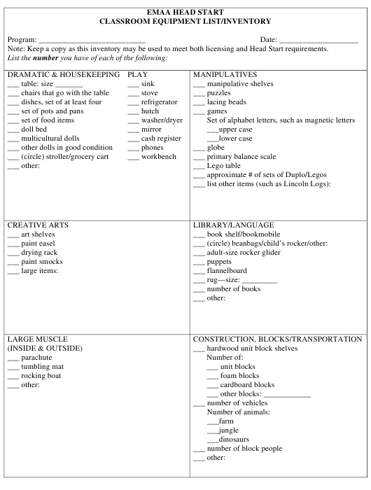 Classroom Equipment List/Inventory Template - Emaa Head