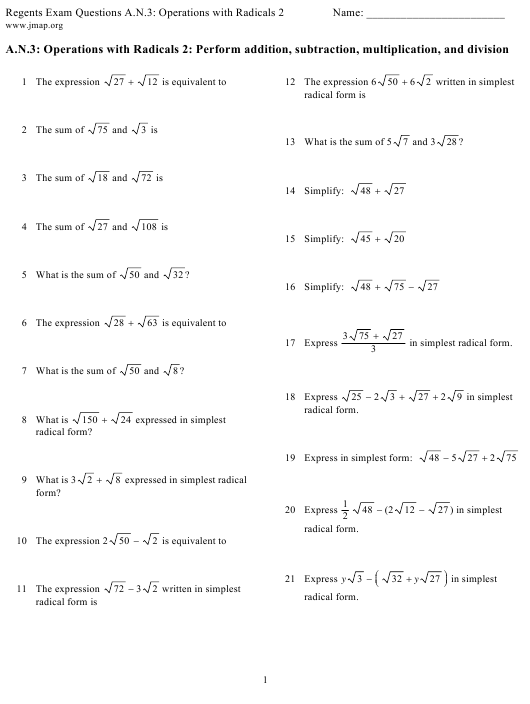 """""""Regents Exam Questions a.n.3: Operations With Radicals Worksheet With Answer Key"""" Download Pdf"""