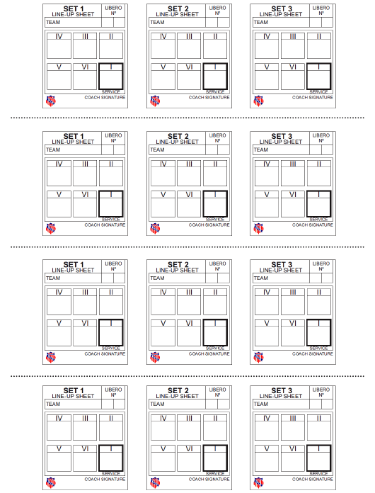 photo relating to Printable Volleyball Score Sheet known as Aau Volleyball Line-Up Sheets Down load Printable PDF