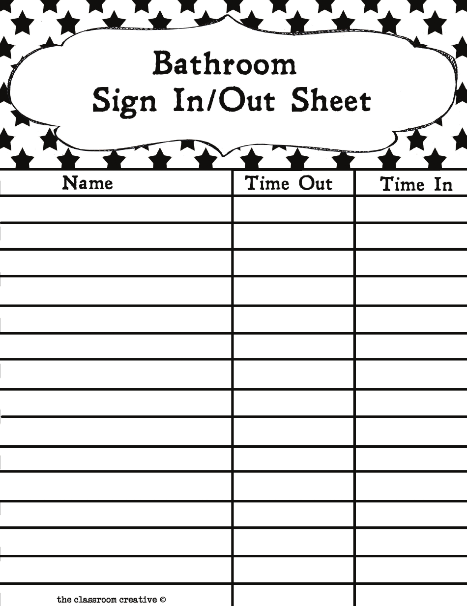 Bathroom Sign In Sign Out Sheet Template Download Printable Pdf Templateroller