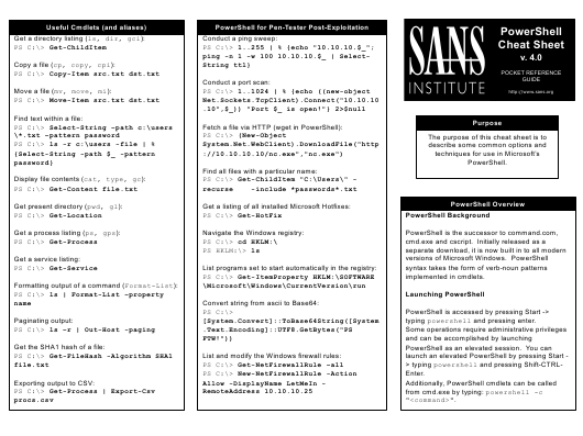 """Powershell Cheat Sheet Version 4 - Sans Institute"" Download Pdf"