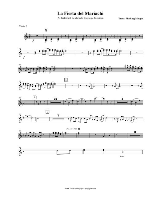Plucking Mingus - La Fiesta Del Mariachi Violin Sheet Music Download