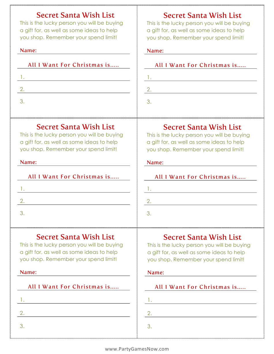 Secret Santa Wish List Template Download Printable Pdf Templateroller