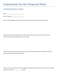 Community Service Proposal Form - Portland Adventist Academy
