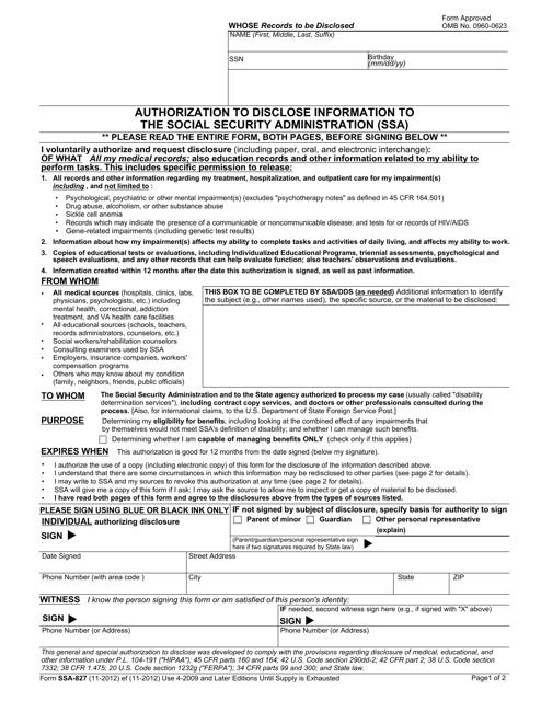 Form SSA-827 Fillable Pdf