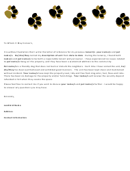 "Sample ""Letter of Reference for Tenant With Pets Template"""