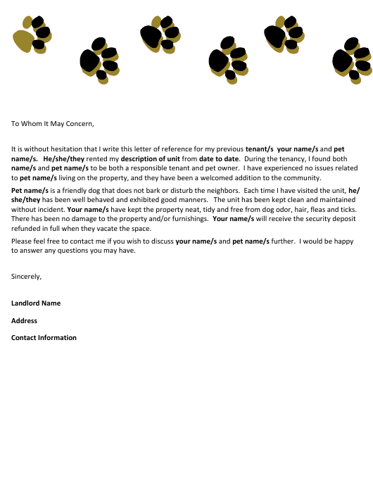 sample letter of reference for tenant with pets template