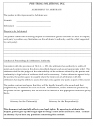 Arbitration Agreement Form - Pre-trial Solutions, Inc.