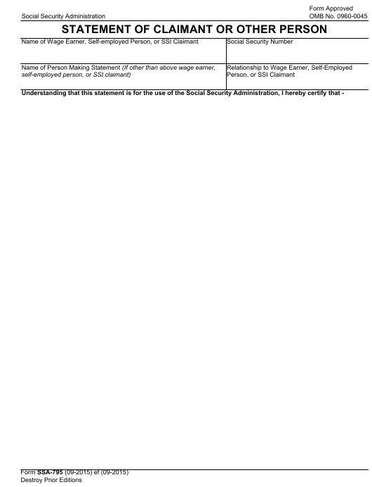 Form SSA-795 Fillable Pdf